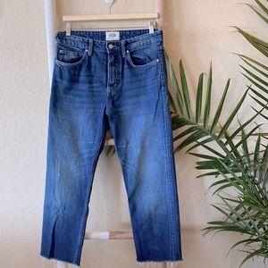 Zara high rise button fly raw hem jeans